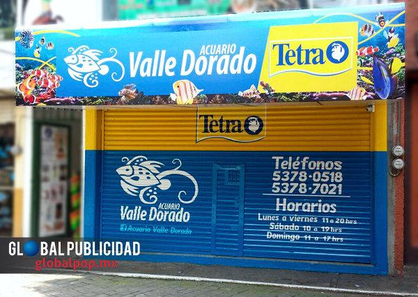 Renovación de imagen de puntos de venta marca Tetra. Acuario Valle Dorado.