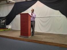 Bishop Manuel greeting the congregation