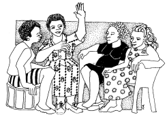 Group of women talking on a couch