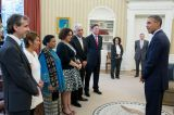 Nohra Padilla and other Goldman Environmental Prize winners meet President Barack Obama at the White House. Photo credit: Goldman Prize.