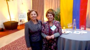 Nelly Mogollon, the director of Bogotá, Colombia's waste management department, with Nohra Padilla, recipient of the Goldman Prize. Mogollon accompanied her to San Francisco to learn about the city's Zero Waste program.