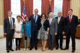 Nohra Padilla e outros ganhadores do Prêmio Ambiental Goldman conhecem o Presidente Barack Obama. Foto: Prêmio Ambiental Goldman.