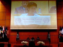 Nohra Padilla delivering the waste pickers' delegation speech at the ILC plenary.