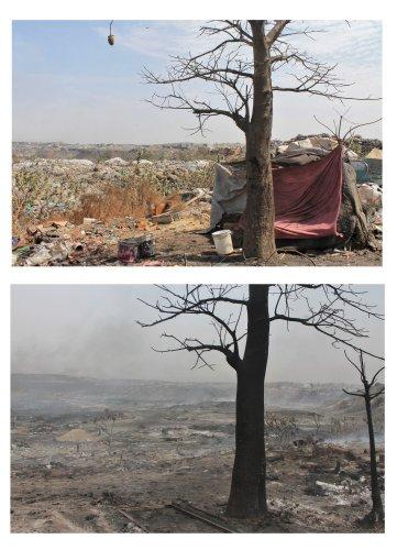 Photos avant et après l'incendie