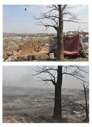Before and after the fire in Mbeubeuss landfill.