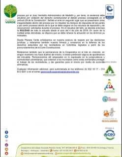 Comunicado Planeta Verde. Página 2.