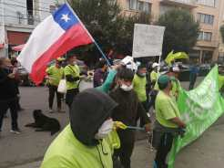 Valparaíso, V region of Chile, waste pickers protest from El Molle landfill in Global Waste pickers Day 2021.