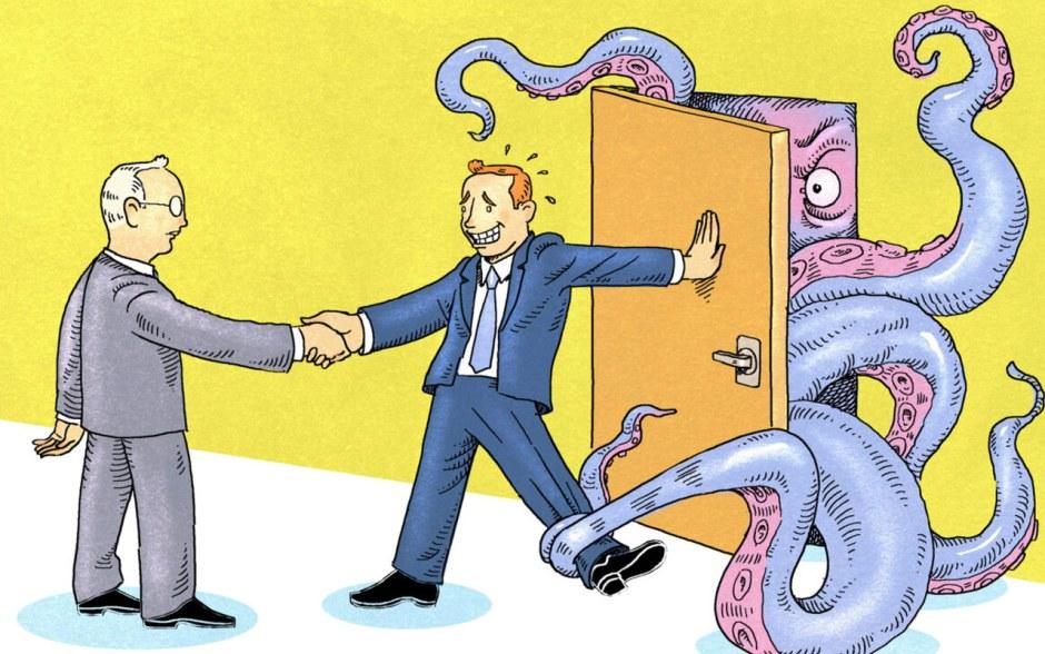 A man holding back an octopus behind the door