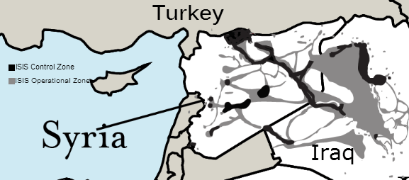 ISIS territory in Syria and along the Syria-Turkey border, as of April 2016.