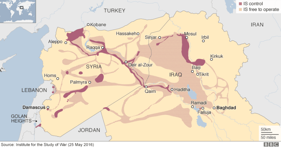 ISIS territory map