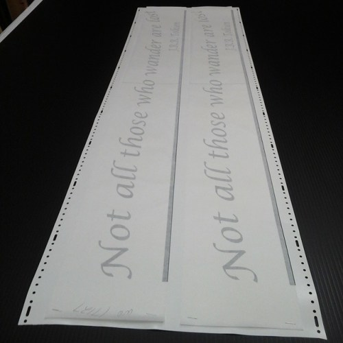 Vinyl lettering masked ready for install