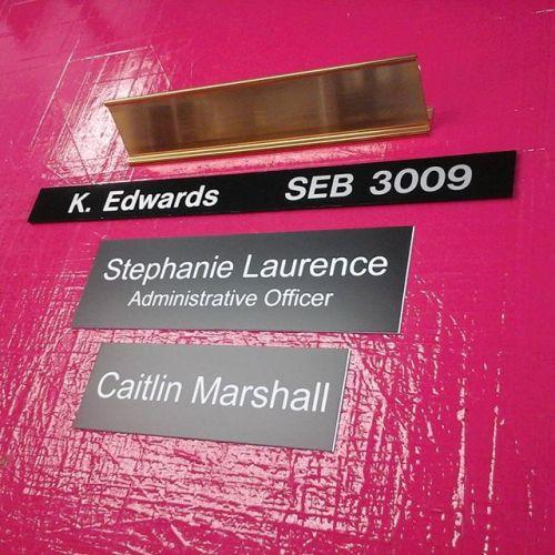 Nameplate desk holder, directory slider & laser nameplates