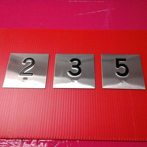 "4"" x 4"" stainless steel elevator signs, raised numbers & braille"