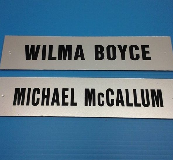 Oakridge Presbyterian Church nameplates, vinyl on PVC