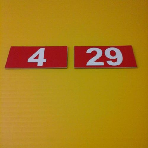 Lasered room # signs