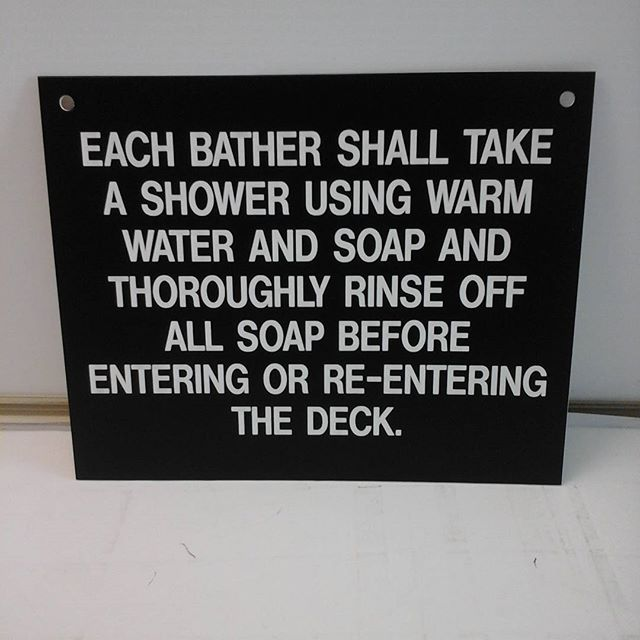 Lasered pool sign
