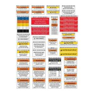 PVLABELS 03-500solar Warning Labels NEC 2014 Assortment Pack, GSS-05-510