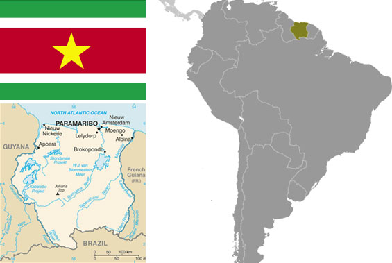 Maps and flag of Suriname courtesy of the CIA World Factbook.