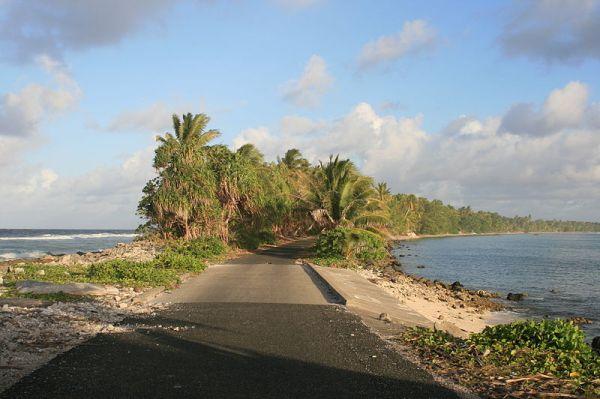 Funafuti in Tuvalu looking south. Photo by David Arfon Jones.