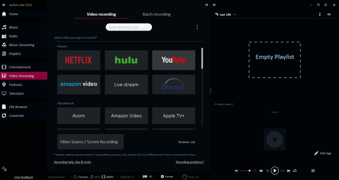 Video Streaming in Audials One 2020