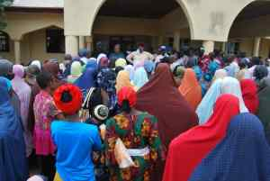 Beneficiaries of Nasarawa Social Investment Programme receiving their monthly stipend in Lafia, the State capital