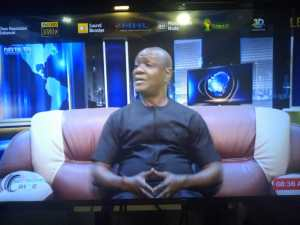 Executive Assistant to Delta State Governor on Communications, Chief Dr Fred Latimore Oghenesivbe Esq responding to questions at a public affairs live programme on DRTV Asaba