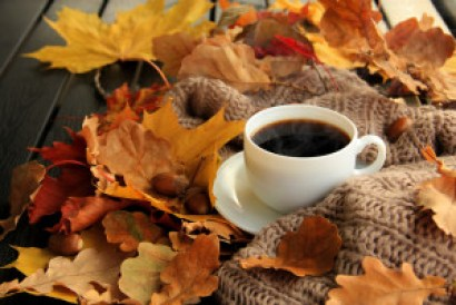 leaves and coffee