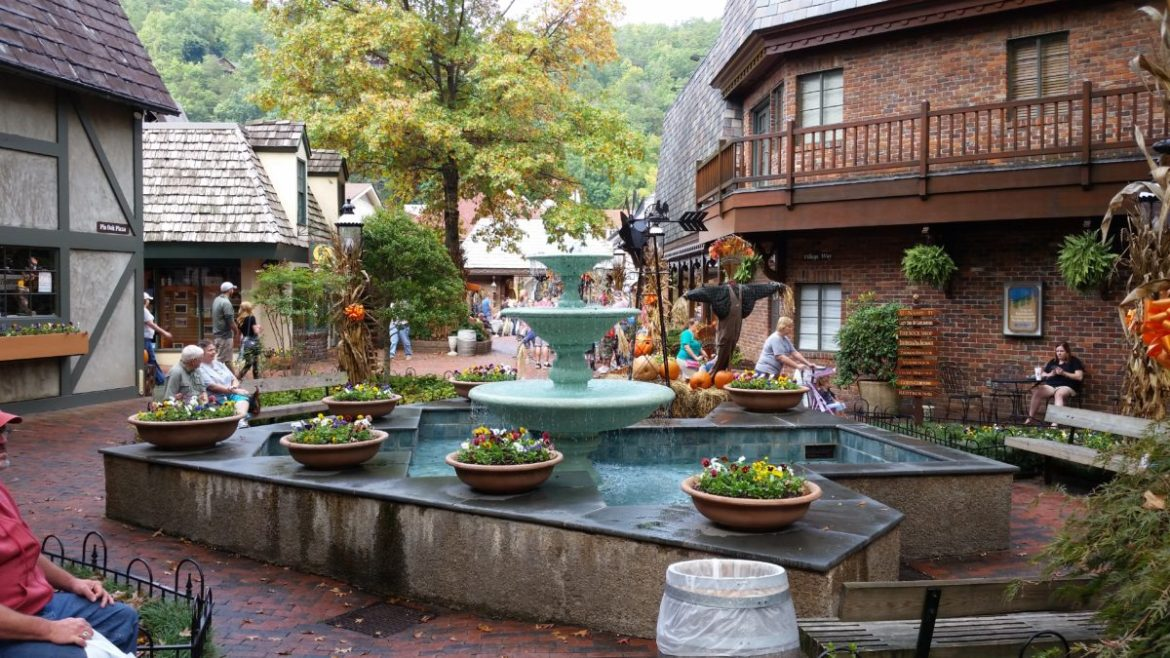 Gatlinburg's Village Shops, spruced up for fall.