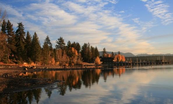 A fall reflection on Lake Tahoe.