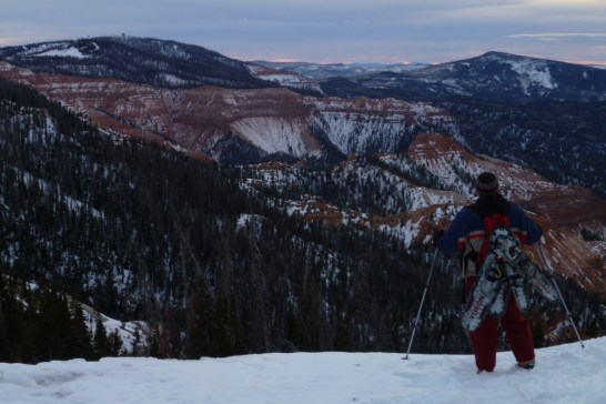 Member Jeff M. snowshoeing in Cedar Breaks National monument.