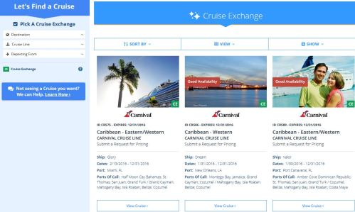 Search and choose from the list of cruises, just like you would a condo.