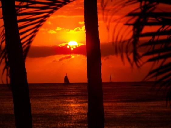 Sunset on Waikiki Beach, Oahu Hawaii