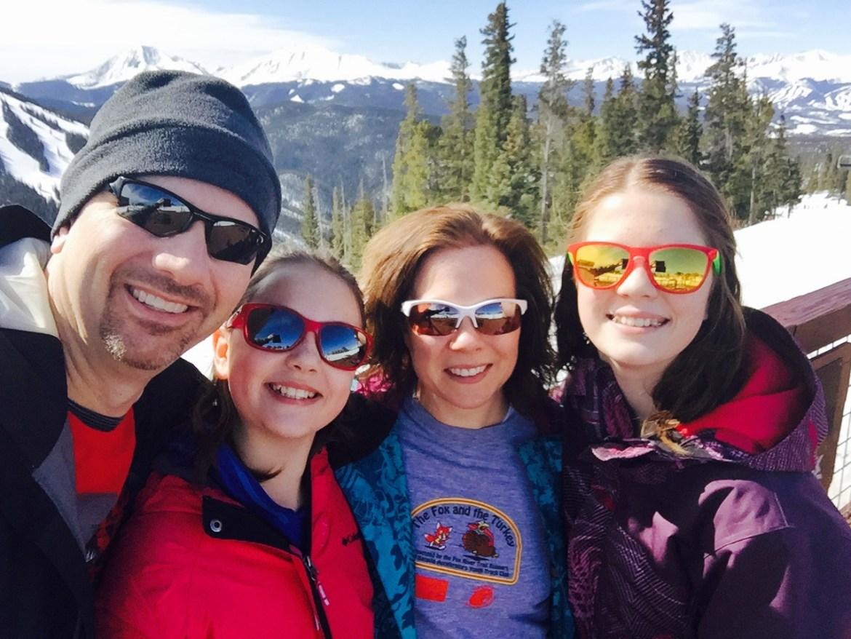 Paul family takes selfie on Colorado mountain.