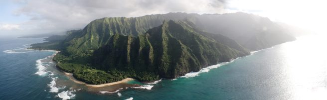 """View of northern Kauai, including the Na Pali Coast, from a no-doors helicopter ride around the island during stay at Pono Kai Resort, Kapaa."" - Member Sheryl H."