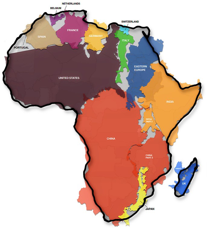 The true size of Africa map