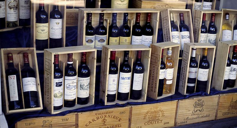 Wine bottles in boxes