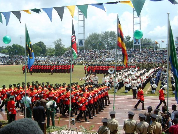 Parades in the Amani Stadium mark the 40th anniversary of Zanzibar's 1964 revolution on 12 January 2004. Photo by Vincent van Zeijst via Wikimedia (CC BY-SA 3.0)
