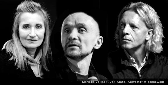 Cultural figures who have come under fire recently include Elfriede Jelinek, Jan Klata (Łukasz Giza / Agencja Gazeta), and Krzysztof Mieszkowski (Kornelia Glowacka-Wolf / Agencja Gazeta)