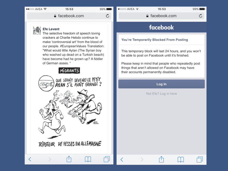 The author's Facebook post (L), and the takedown notice (R) he received within 24 hours of posting.