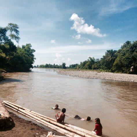 Children playing along the river banks of Jalaur in Barangay Agcalaga, Calinog.