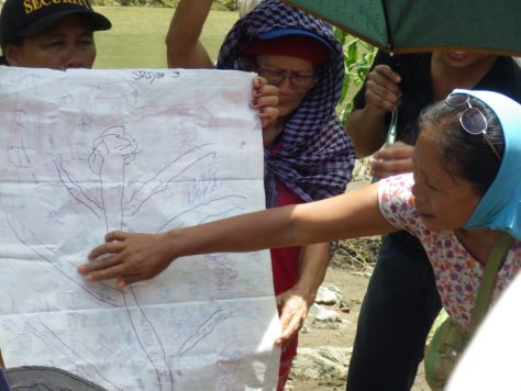 The Tumandok mapping the destruction and displacement to be caused by the construction of the Jalaur Mega Dam. Photo Credits: Jalaur River for the People Movement.
