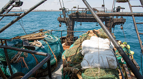 After FISH-i helped Somalia home in on the Greko 1, inspectors found banned trawl nets on board. Photo courtesy of FISH-i Africa.