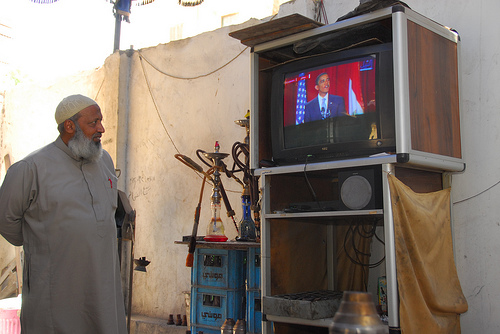 Arabist picture for the Hagg, owner of his local qahwa in Garden City, watching the Obama speech - like many of Egyptians who followed the speech from local qahwa's or their homes.