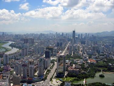 Panorama della città di Shenzhen, Cina.