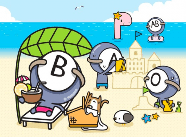 ABO blood types on a summer vacation: The B Type is seen as fully enjoying the moment, the Type A is putting quite a lot of effort into building a sand castle, and Type AB is located very far from the group. Image from Cartoonist Park's blog (CC BY NC ND).