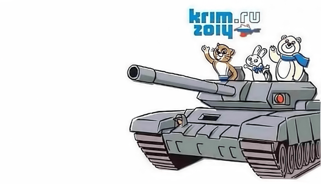 Sochi Olympic mascots driving a tank into Krym. Anonymous image found online.