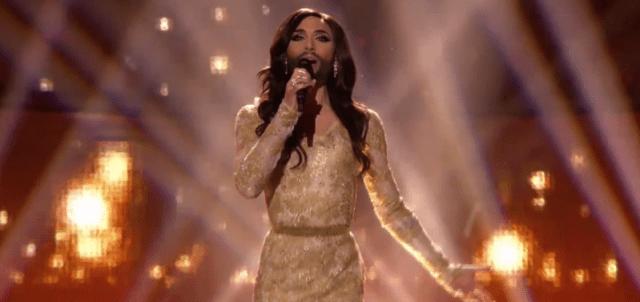 "Conchita Wurst, performing ""Rise Like a Phoenix,"" May 10, 2014, YouTube."