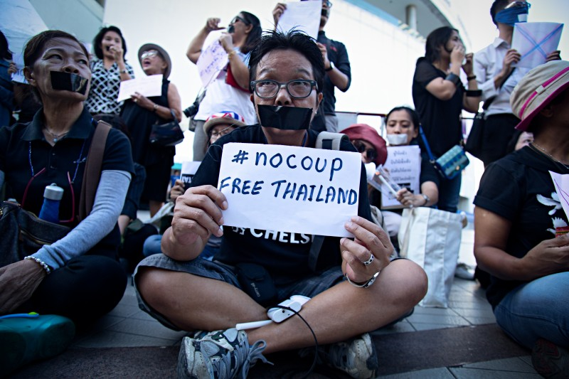 Anti-coup activists and protesters occupy the square outside of Bangkok Art and Cultural Center in central Bangkok. Photo by Lillian Suwanrumpha, Copyright @Demotix (5/23/2014)