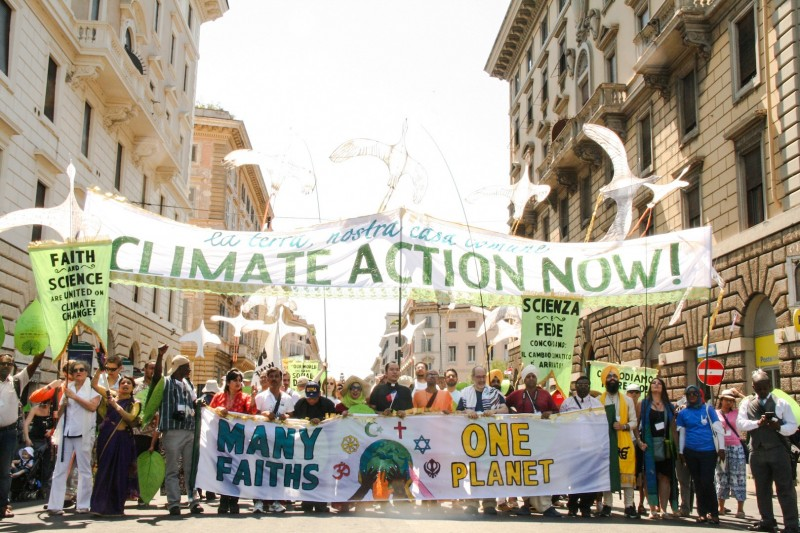 Multi-faith encyclical celebration march, Rome June 2015. Photo credit: Hoda Baraka/350.org
