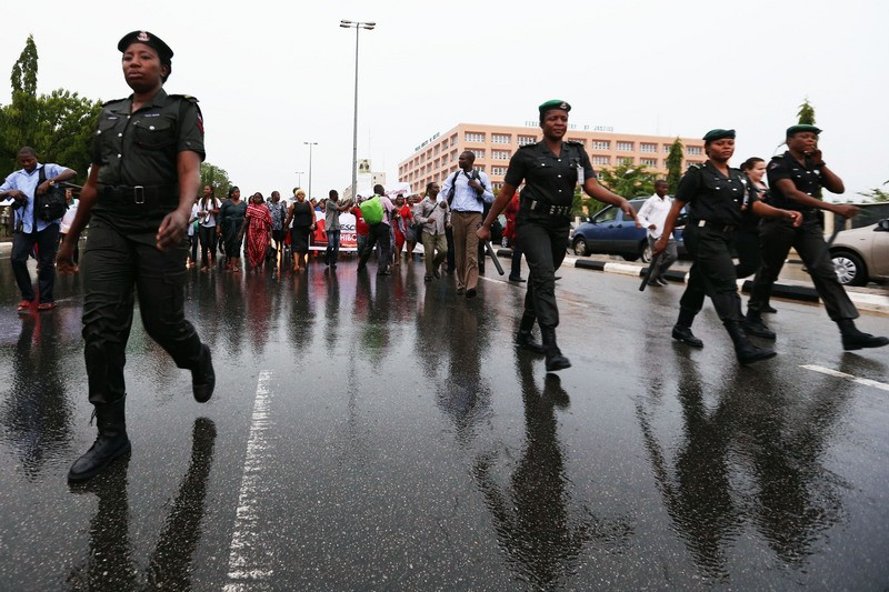 Abuja, Nigeria. April 30, 2014. Protesters took to the streets around the three arms zones of Abuja to demand urgent action from the government in finding the 200 school girls kidnapped in Chibok. By Ayemoba Godswill. Demotix (c).